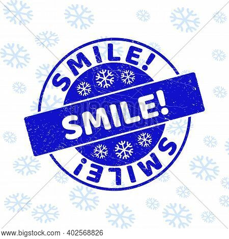 Smile Exclamation. Round Stamp Seal On Winter Background With Snowflakes. Blue Vector Rubber Imprint