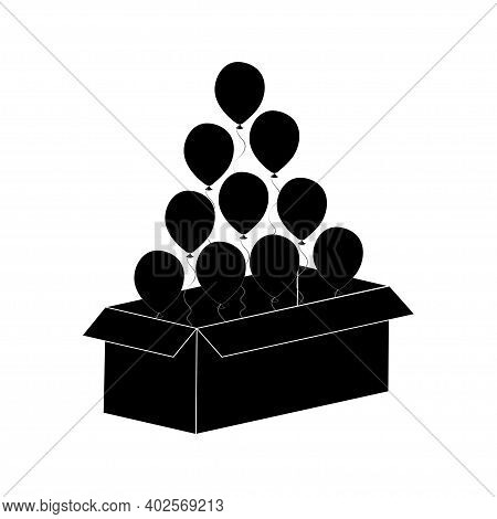 Bunch Of Helium Balloons Fly Up From Cardboard Box. Isolated On White Background. Vector.