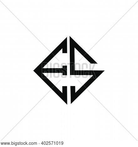Es Letters In Square Shape. Es Square Monogram.