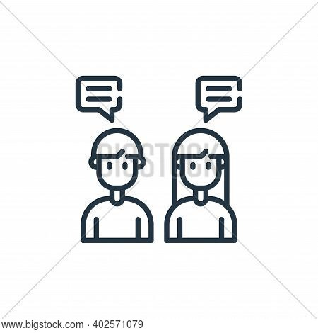 talking icon isolated on white background. talking icon thin line outline linear talking symbol for