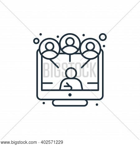 online conference icon isolated on white background. online conference icon thin line outline linear