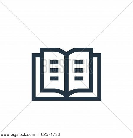 book icon isolated on white background. book icon thin line outline linear book symbol for logo, web