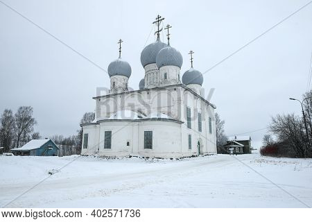 Transfiguration Cathedral Is A Cloudy December Day. Belozersk. Vologda Oblast, Russia
