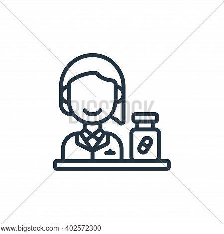 Pharmacist icon isolated on white background. Pharmacist icon thin line outline linear Pharmacist sy