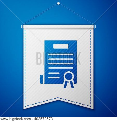 Blue Declaration Of Independence Icon Isolated On Blue Background. White Pennant Template. Vector Il