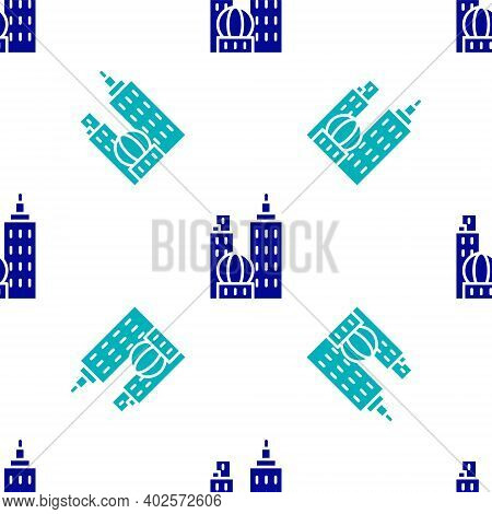 Blue City Landscape Icon Isolated Seamless Pattern On White Background. Metropolis Architecture Pano