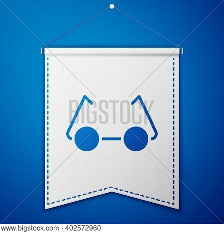 Blue Glasses Icon Isolated On Blue Background. Eyeglass Frame Symbol. White Pennant Template. Vector