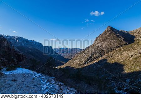 Winter landscape with snow in mountains of Serra do Geres natural park, Portugal