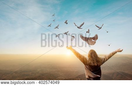Freedom Of Life, Free Pigeon And Woman Enjoying Nature On Sunset Background, Freedom Concept.
