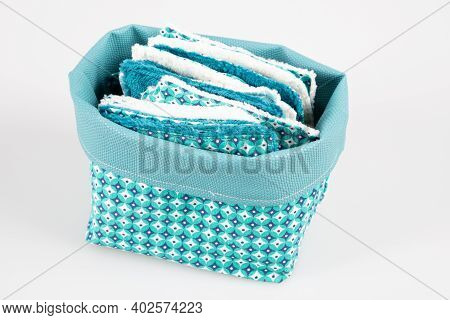 Make Up Removal Washable Cotton Cosmetic Pads In Diy Blue Basket Isolated On White