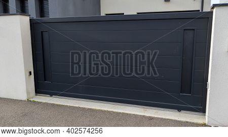 Aluminum Door Car Home In Dark Gray Gate Portal Of Suburb House
