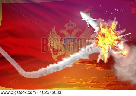 Montenegro Intercepted Nuclear Warhead, Modern Antirocket Destroys Enemy Missile Concept, Military I