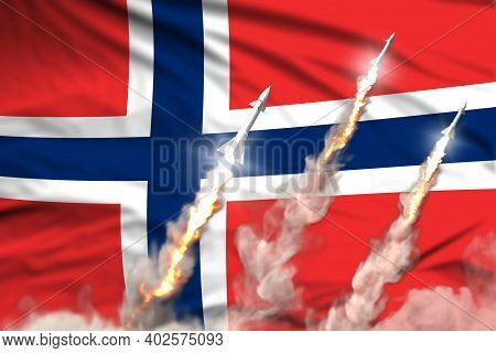 Norway Ballistic Missile Launch - Modern Strategic Nuclear Rocket Weapons Concept On Flag Fabric Bac