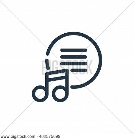 music icon isolated on white background. music icon thin line outline linear music symbol for logo,