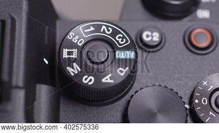 Russia, Moscow-december, 2020: Close-up Of Professional Camera Button. Action. Manual Mode Settings