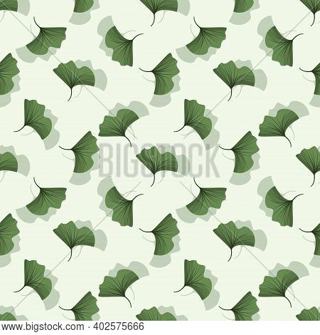 Vector Seamless Pattern With Ginkgo Biloba Leaves; For Wrapping Paper, Packaging, Posters, Banners,