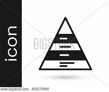 Black Business Pyramid Chart Infographics Icon Isolated On White Background. Pyramidal Stages Graph
