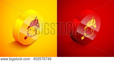 Isometric Sherlock Holmes With Smoking Pipe Icon Isolated On Orange And Red Background. Detective. C