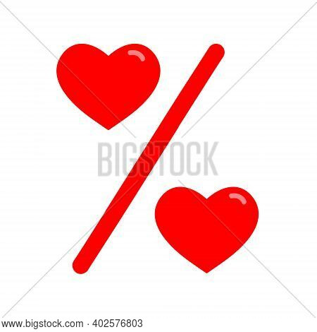 Love Percentage. Vector Red Heart Icons. Percentage Red Web Flat Icon