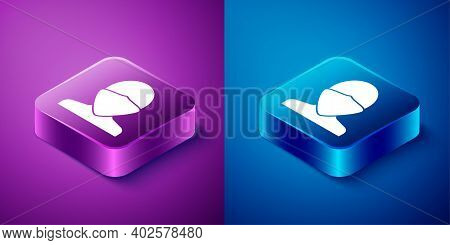 Isometric Vandal Icon Isolated On Blue And Purple Background. Square Button. Vector