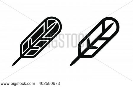 Feather Quill Pen Linear Icon Vector, Black And White Version