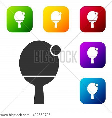 Black Racket For Playing Table Tennis Icon Isolated On White Background. Set Icons In Color Square B