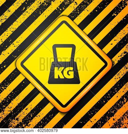 Black Weight Icon Isolated On Yellow Background. Kilogram Weight Block For Weight Lifting And Scale.