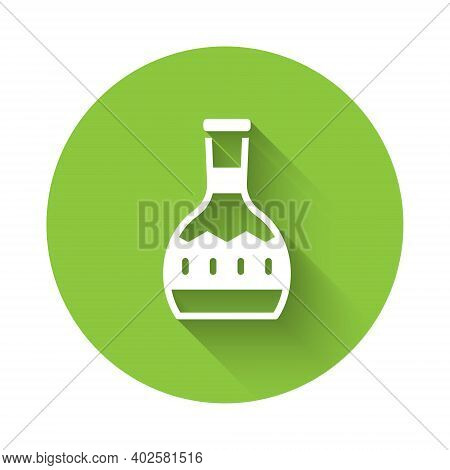 White Tequila Bottle Icon Isolated With Long Shadow. Mexican Alcohol Drink. Green Circle Button. Vec