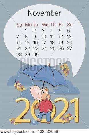 November 2021. Bullish Calendar. Autumn Month. Cute Bull With Umbrella Under The Autumn Rain. Year O