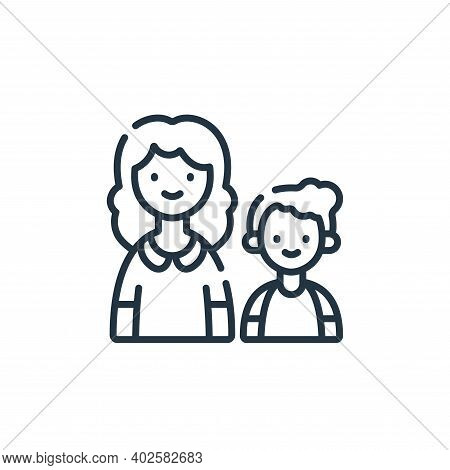 mother and son icon isolated on white background. mother and son icon thin line outline linear mothe