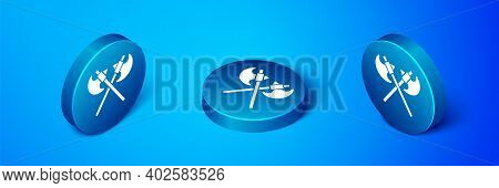 Isometric Crossed Medieval Axes Icon Isolated On Blue Background. Battle Axe, Executioner Axe. Medie
