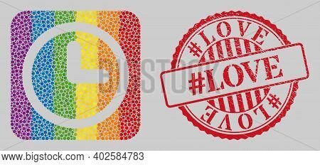 Scratched Hash Love Stamp Seal And Mosaic Clock Subtracted For Lgbt. Dotted Rounded Rectangle Mosaic