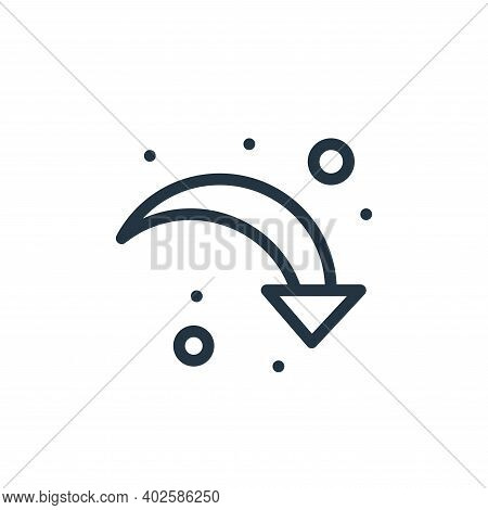 down right arrow icon isolated on white background. down right arrow icon thin line outline linear d