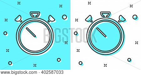 Black Line Stopwatch Icon Isolated On Green And White Background. Time Timer Sign. Chronometer Sign.