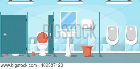 Public Toilet. Interior Of A Clean Empty Sanitary Room. Modern Ceramic Lavatory. Sink And Mirror, To
