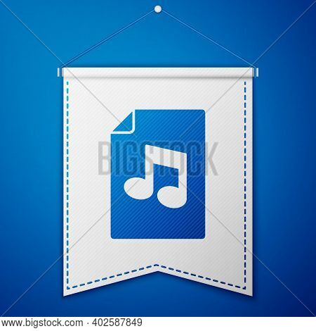 Blue Music Book With Note Icon Isolated On Blue Background. Music Sheet With Note Stave. Notebook Fo