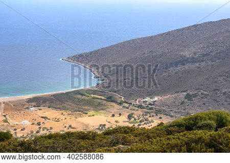 Agia Theodoti Beach On Ios Island. A Wonderful Bay With The Golden Sand And Quiet Beach. Cyclades, G