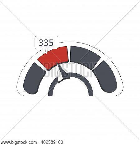 Credit Indicator Shows Bad Number Score Solvency. Vector Credit Score Minimum, Interface Guage Measu