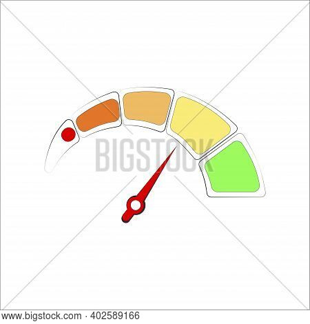 Colored Credit Score Meter, Red Arrow Indicates Good Level. Vector Interface Accuracy Finance Measur