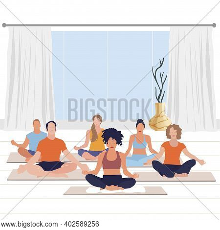 Meditate Yoga Class, Calm Exercise And Relax. Vector Activity Buddhism, Character Guy And Woman On Y