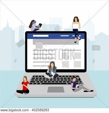 Social Media Addiction, People Use Laptop Smartphone. Internet Communication, Community Network Life