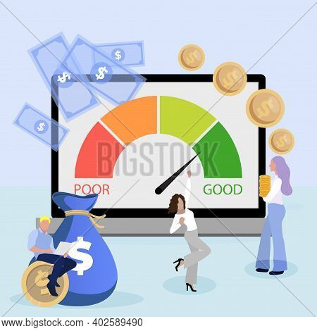 Excellent Credit Score To Get Bank Loan To Do Business. Vector Loan Rating, Score Credit Excellent,