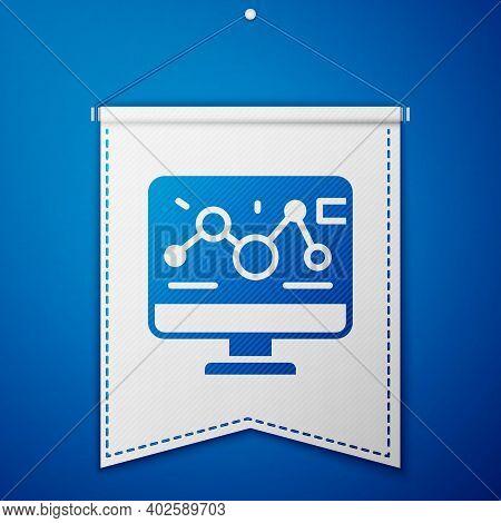 Blue Genetic Engineering Modification On Laptop Icon Isolated On Blue Background. Dna Analysis, Gene