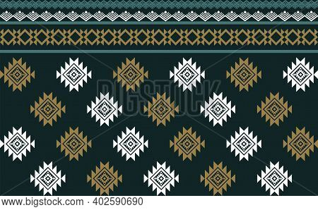 Abstract Green Geometric Native Pattern Seamless Vector.repeating Geometric Background.modern Design