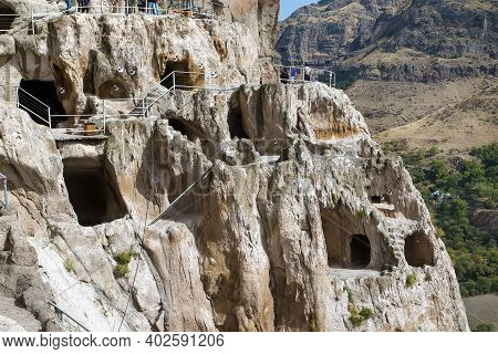 Vardzia Is A Cave Monastery Site In Southern Georgia, Excavated From The Slopes Of The Erusheti Moun