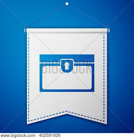Blue Antique Treasure Chest Icon Isolated On Blue Background. Vintage Wooden Chest With Golden Coin.