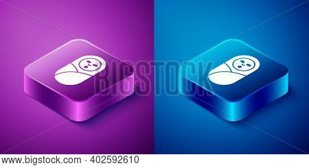 Isometric Newborn Baby Infant Swaddled Or Swaddling Icon Isolated On Blue And Purple Background. Bab