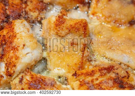 Cod Fillets Are Fried In Bread Crumbs
