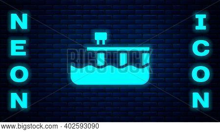 Glowing Neon Beach Pier Dock Icon Isolated On Brick Wall Background. Vector