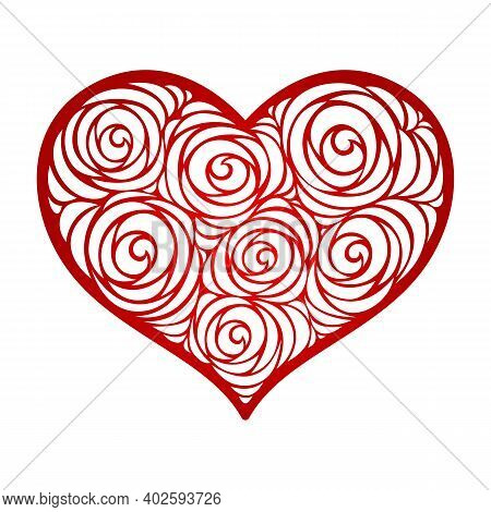 Vector Floral Heart. Valentine's Day. Pattern With Roses. Paper Cut Template. Card, Wedding Invitati